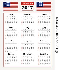 Calendar for 2017 with two vector image of american flag