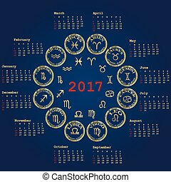 Calendar for 2017 with zodiac signs