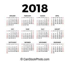 Calendar for 2018 on white background