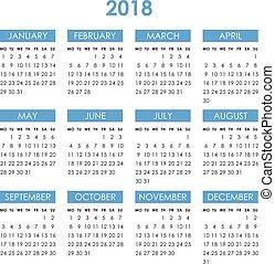 Calendar for 2018 year
