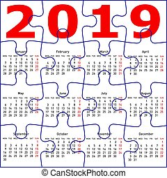 Calendar for 2019, jigsaw puzzle texture background.