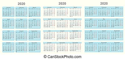 Calendar for 2020 year in clean minimal style.