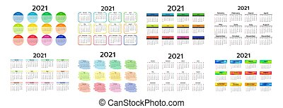 Calendar for 2021 isolated on a white background - Set of ...