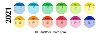 Calendar for 2021 isolated on a white background. Sunday to ...