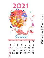 Calendar for 2021 October. beautiful girl with blossom hairstyle