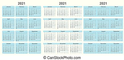 Calendar for 2021 year in clean minimal style.