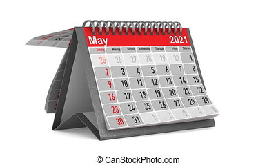 Calendar for 2021 year. Isolated 3D render