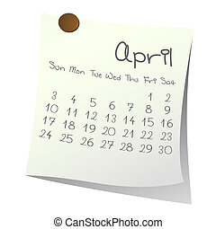 April 2011 - Calendar for April 2011 on paper