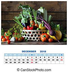 Calendar for December 2018 with still life. Fresh vegetables in basket.