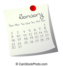 Calendar for January 2011 on paper