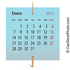 Calendar for January 2013  in Spanish
