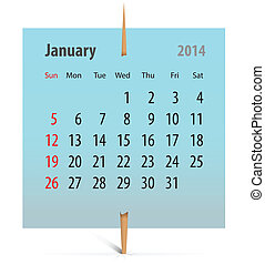 Calendar for January 2014 on a sticker attached with toothpick. Vector illustration