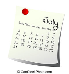 July 2011 - Calendar for July 2011 on paper