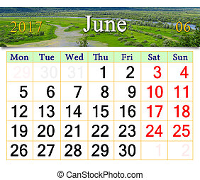 calendar for July 2017 on the background of summer