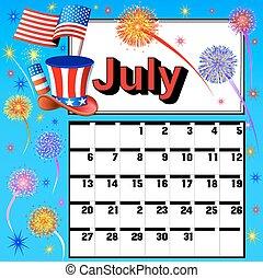 calendar for July independence day fireworks flag hat