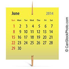 Calendar for June 2014