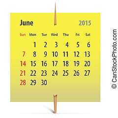 Calendar for June 2015 on a yellow sticker attached with...