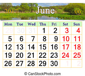 calendar for June 2017 on the background of summer