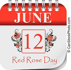 Calendar for june day Red Rose Day - Calendar with ...