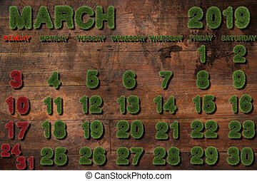 Calendar for March 2019 on white background,3d rendering green grass