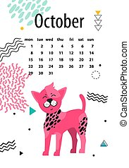 Calendar for October 2018 with Chinese Crested Dog