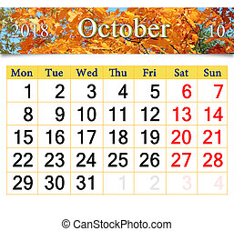 calendar for October 2018 with yellow leaves