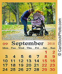 calendar for September 2018 with photo of woman with baby in perambulator in the park