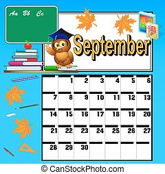 calendar for September and school books owl and apple
