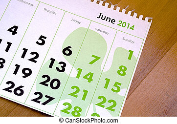 Calendar for the July of 2014
