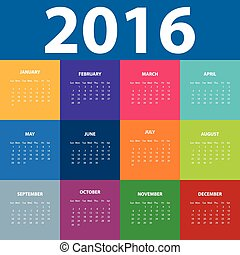 Calendar for the year 2016