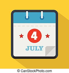 Calendar fourth july icon, flat style