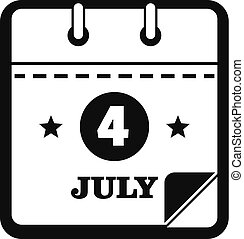 Calendar fourth july icon, simple black style