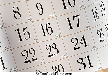 Calendar fragment shaped sheet in funny angle background