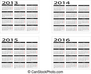 Calendar from 2013 to 2016
