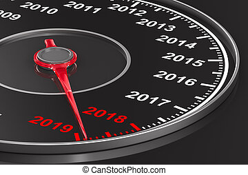 Calendar from speedometer on black background. 3D...