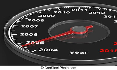 Calendar from speedometer on black background. 3D render