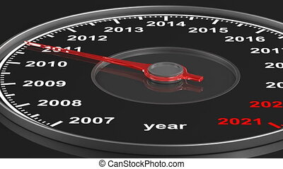 Calendar from speedometer on black background. 3D render