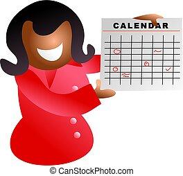 calendar girl - business woman holding up calendar with...