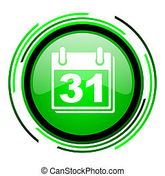 calendar green circle glossy icon
