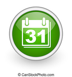 calendar green circle glossy web icon on white background