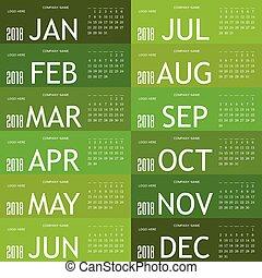 calendar green for 2018 illustration