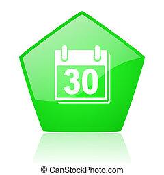 calendar green pentagon web glossy icon