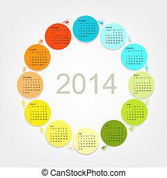 Calendar grid 2014 for your design