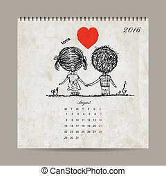 Calendar grid 2016 design, august. Couple in love together