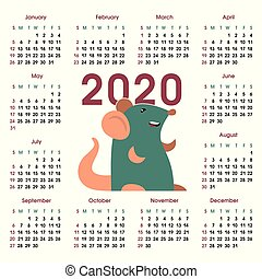 Calendar grid 2020 with rat