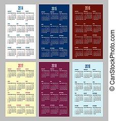 calendar grid for 2014, 2015, 2016,