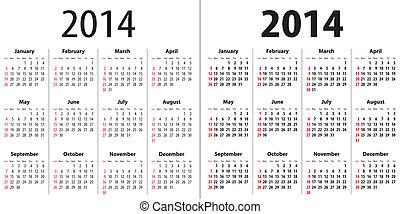 Calendar grid for 2014. Sundays first. Regular and bold ...