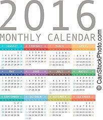 Calendar grid for 2016.