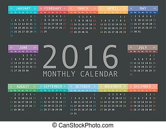Calendar grid for 2016. Rigorous design.