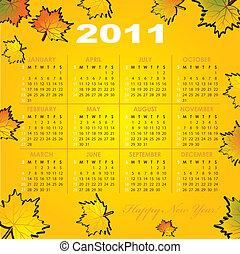 Calendar grid of 2011 year